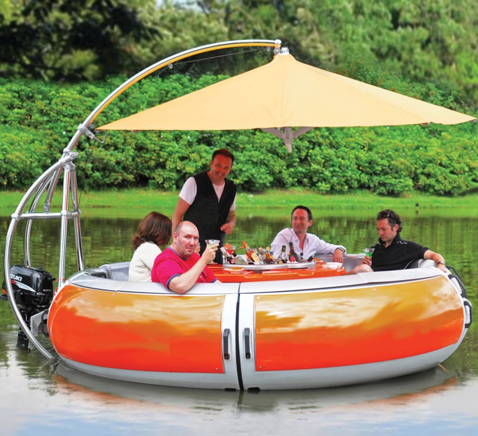 This glorified floating picnic table could be yours for the rock floating barbaque dining boat watchthetrailerfo
