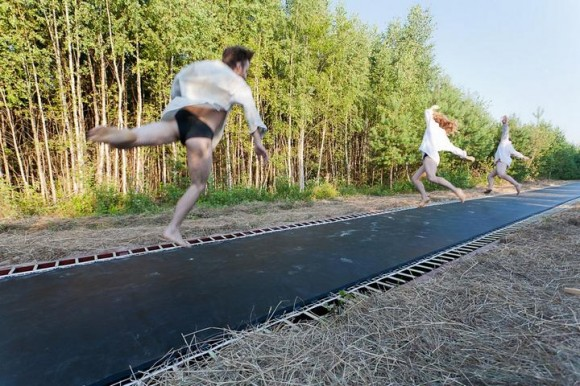 Crazy Russians Build Really Really Long Trampoline Road